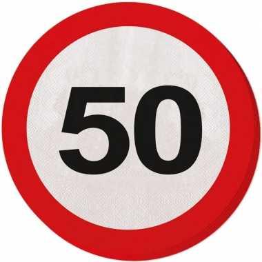 60x papieren servetjes 50 jaar verkeersbord thema feestartikelen 33 c