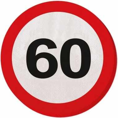 60x papieren servetjes 60 jaar verkeersbord thema feestartikelen 33 c