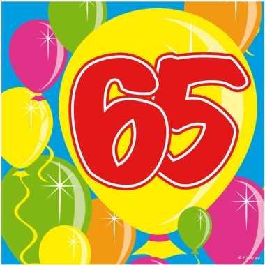 60x papieren servetjes 65 jaar balloons thema feestartikelen 25 x 25