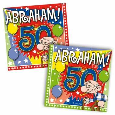 60x papieren servetjes abraham 50 jaar thema feestartikelen 25 x 25 c