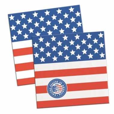 60x papieren servetjes amerikaanse vlag/usa thema feestartikelen 25 x
