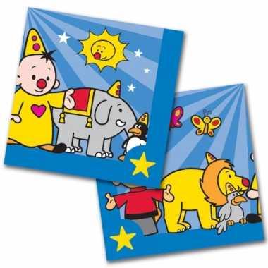 60x papieren servetjes clown/bumba blauw/zwart thema feestartikelen 3