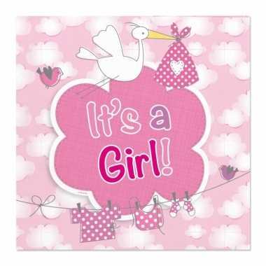 60x papieren servetjes geboorte meisje roze feestartikelen 25 x 25 cm