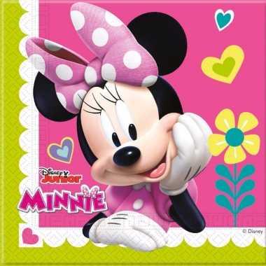 60x papieren servetjes minnie mouse thema feestartikelen 33 x 33 cm k