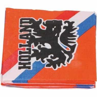 60x papieren servetjes oranje supporters leeuwen/leeuwinnen thema fee