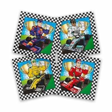 60x papieren servetjes race/f1 gekleurd thema feestartikelen 33 x 33