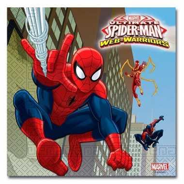 60x papieren servetjes spiderman warrior thema feestartikelen 33 x 33