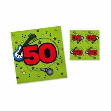 60x servetten 50 jaar verjaardag groen/rood 33 x 33 cm kopen