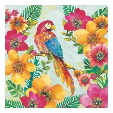 60x servetten papegaaien print 3 laags