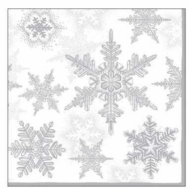 60x servetten winter sneeuwvlokken thema wit/zilver 33 x 33 cm kopen
