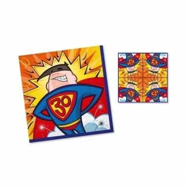 60x stuks servetten 30 jaar superman geel/blauw/rood 33 x 33 cm kopen