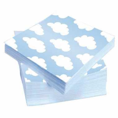 60x stuks wolken geboorte jongen servetten 33 x 33 cm kopen