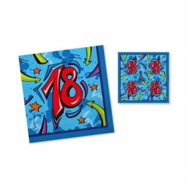 60x verjaardag thema feest servetjes 33 x 33 cm print blauw/rood 18 jaar kopen