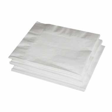 60x witte kleuren thema servetten 33 x 33 cm kopen