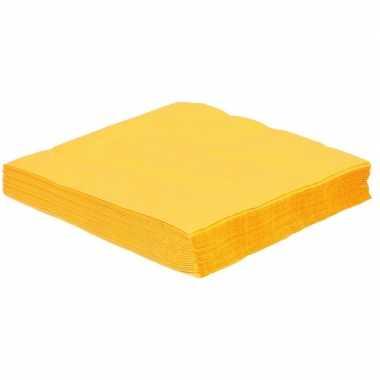 75x gele servetjes 33 x 33 cm versiering/decoratie kopen