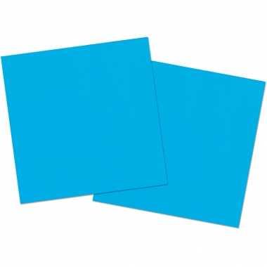 80x stuks servetten van papier blauw 33 x 33 cm kopen