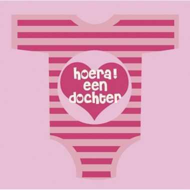 Babyshower servetten roze met romper kopen