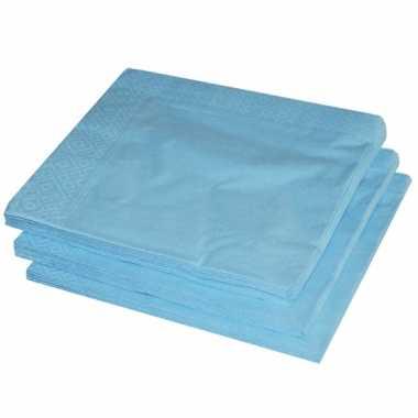 BBQ servetten lichtblauwe kleur  25 stuks kopen
