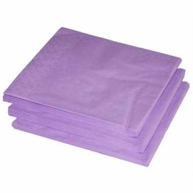 Bbq servetten lila paars kleur 25 stuks