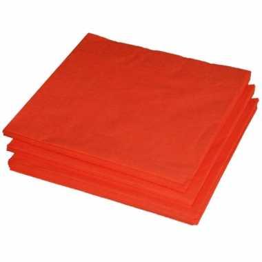 BBQ servetten oranje kleur  25 stuks kopen