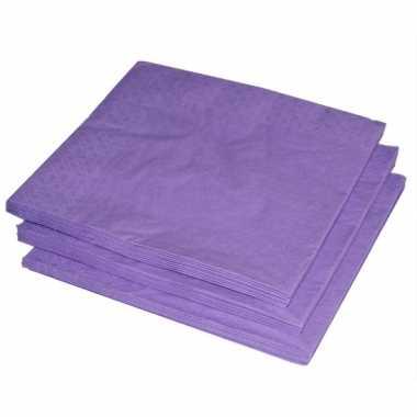 Bbq servetten paars kleur 25 stuks