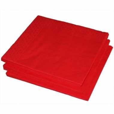 Bbq servetten rode kleur 25 stuks