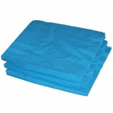 BBQ servetten turquoise kleur  25 stuks kopen