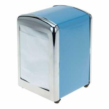 Blauwe servettendispenser 14 cm