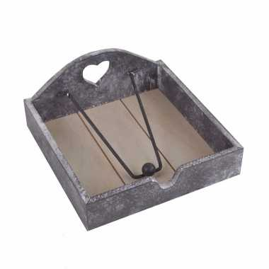 Brocante servetten houder grijs kopen