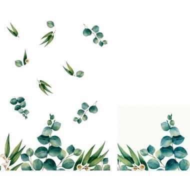 Design planten thema feest servetjes en tafellakens/tafelkleden eucal