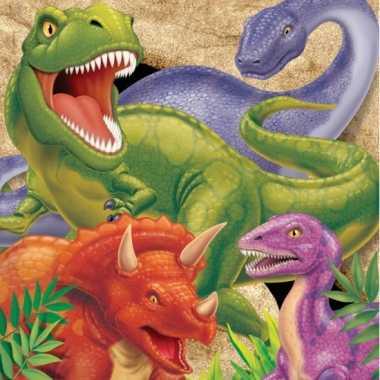 Dinosaurus thema servetten 16 stuks kopen