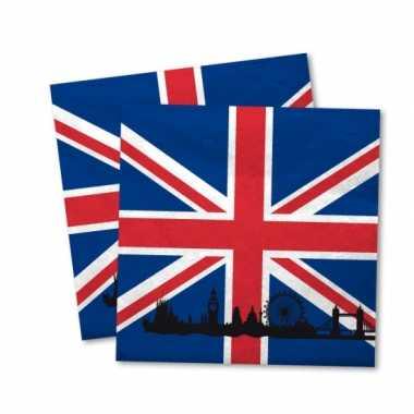 Engelse vlag servetten 40x stuks kopen