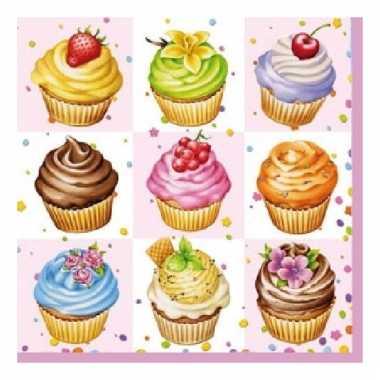 Feest servetten cupcakes 3-laags 20 stuks kopen