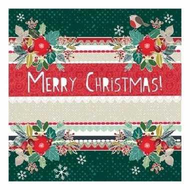 Feest servetten merry christmas groen kopen