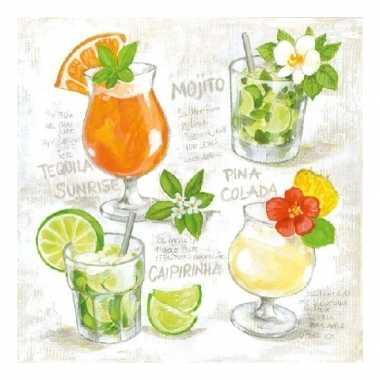 Feest servetten met cocktail print 3-laags 20 stuks kopen