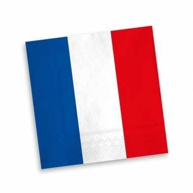 Frankrijk servetten blauw wit rood20 stuks kopen