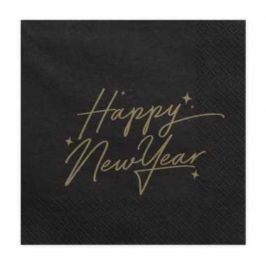 Happy new year servetten zwart 20 stuks 33 cm kopen