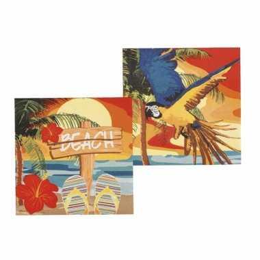 Hawaii feest thema servetten 24x stuks kopen