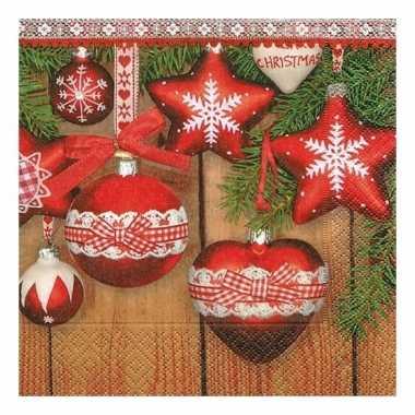 Kerst servetten met kerstballen kopen