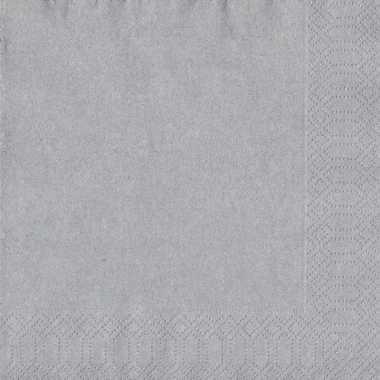 Kerst thema zilveren servetten 33 x 33 cm kopen