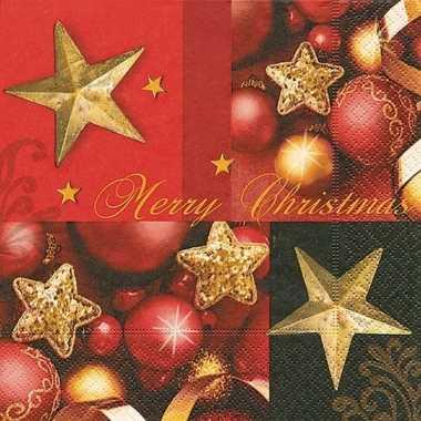 Kerstdiner servetten merry christmas 20 stuks kopen