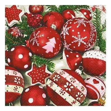Kerstdiner servetten met kerstballen 20 stuks kopen