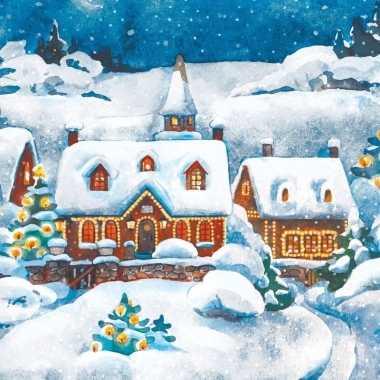 Kersthuisjes servetten 33 x 33 cm kopen
