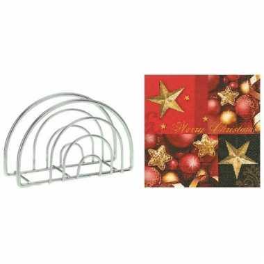 Kerstmis tafelversiering houder met gouden ster servetten kopen