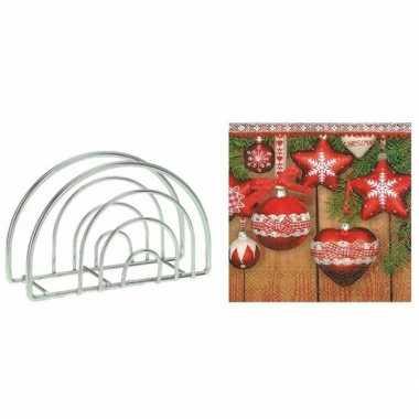 Kerstmis tafelversiering houder met kerstballen servetten kopen