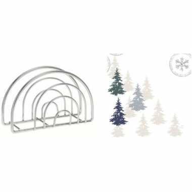 Kerstmis tafelversiering houder met kerstboom servetten kopen