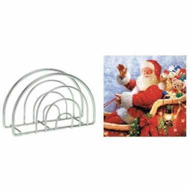 Kerstmis tafelversiering houder met kerstman servetten kopen