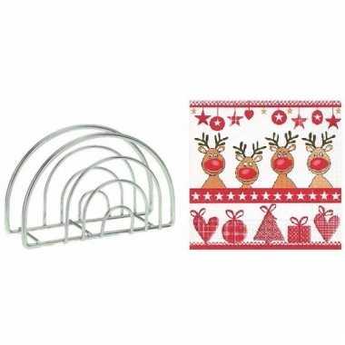 Kerstmis tafelversiering houder met rendieren servetten kopen