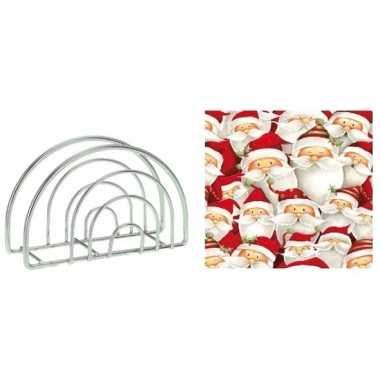 Kerstmis tafelversiering houder met rode kerstmannen servetten kopen