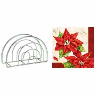 Kerstmis tafelversiering houder met rode kerstster servetten kopen